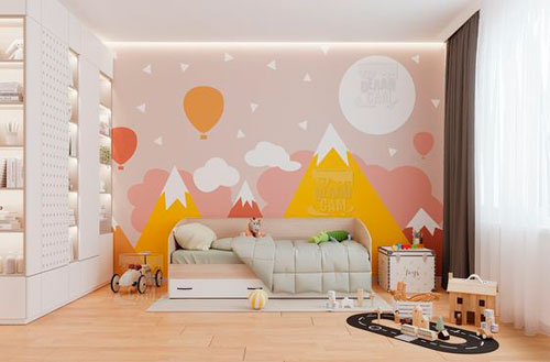 красивое оформление стен в деткой комнате наклейками 4