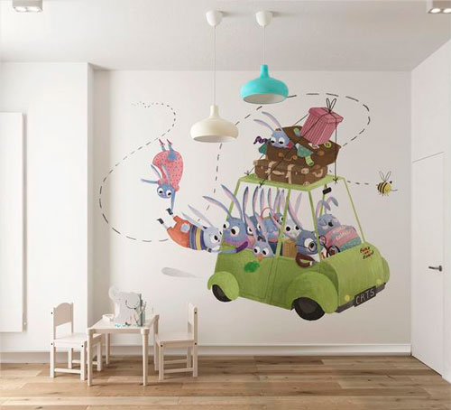 красивое оформление стен в деткой комнате наклейками 3