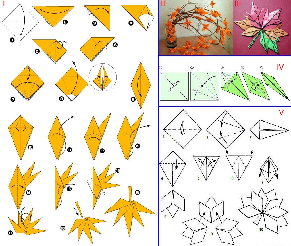 Осенние листья из цветной бумаги схема 2