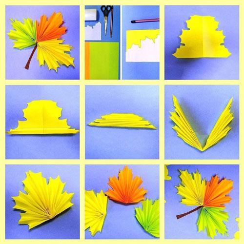 осенние листья из бумаги для оформления 7