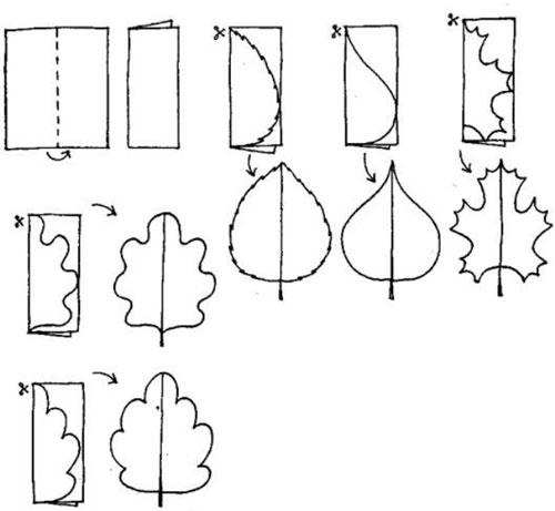 осенние листья из бумаги для оформления 8