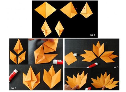 осенние листья из бумаги для оформления 13