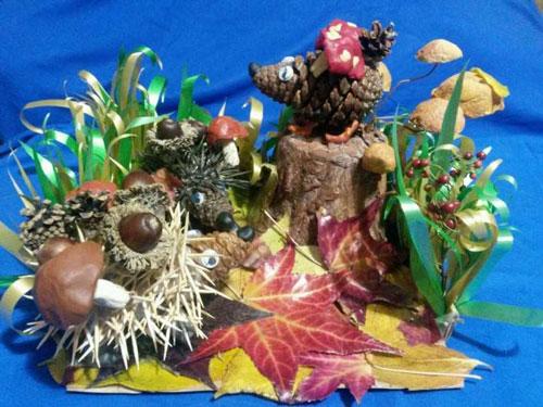 Осенние поделки из шишек на выставку в сад