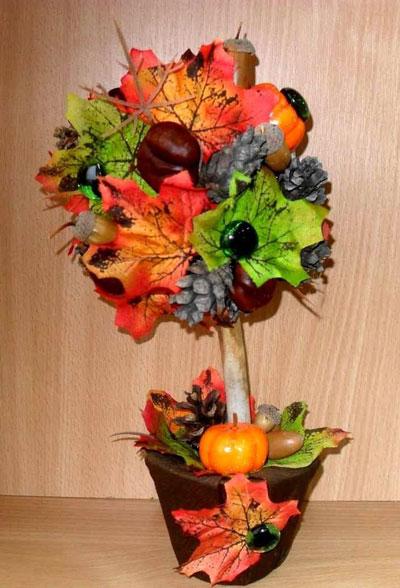 Осенние топиарий поделки из шишек 3