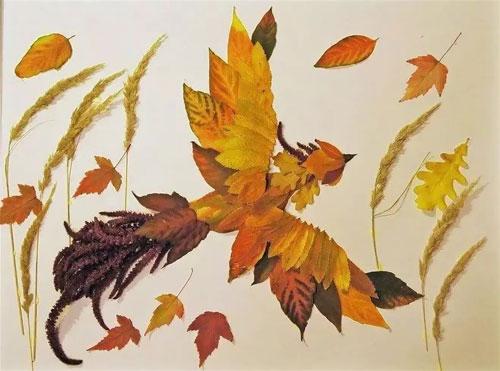 Осенний гербарий из природных материалов для детей