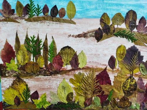 Осенний гербарий из природных материалов для детей 3