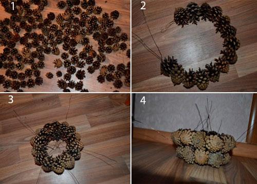 Осенняя корзина поделки из шишек 2