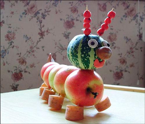 поделка из овощей гусеница