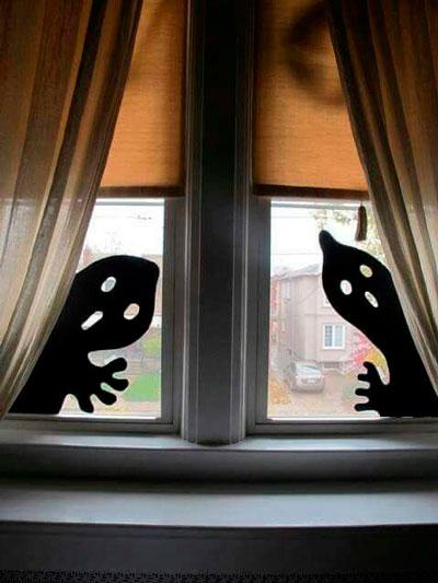 Хэллоуин украсить окна своими руками 6