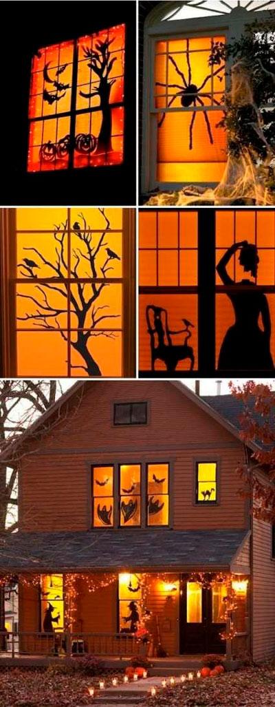 Хэллоуин украсить окна своими руками 3