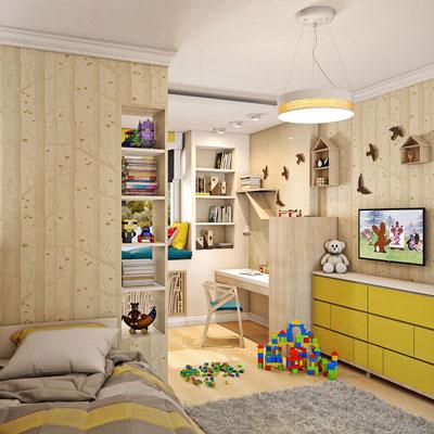 как в однокомнатной квартире сделать детскую зону 2