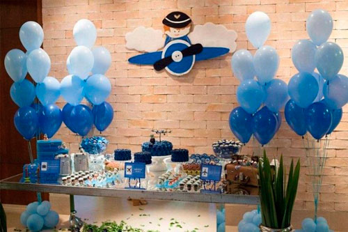 украшение комнаты на день рождения в синем цвете для мальчика