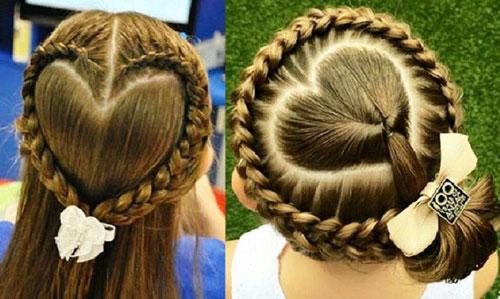 прически на 1 сентября на длинные волосы косы-сердечки