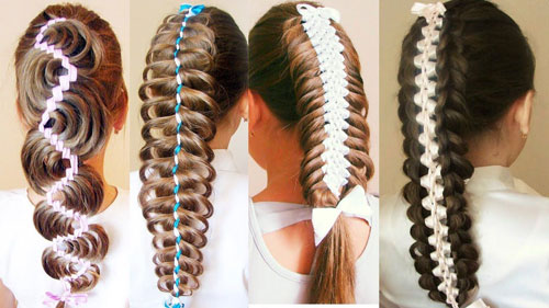 прически на 1 сентября на длинные волосы с лентами