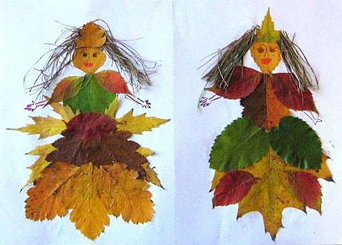 осенняя аппликация из листьев и бумаги для детей 11