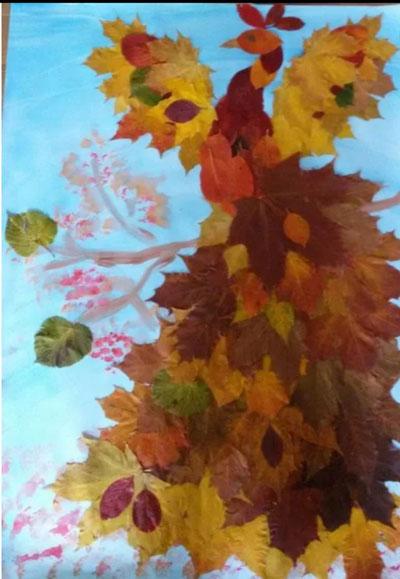 осенняя аппликация из листьев и бумаги для детей 3