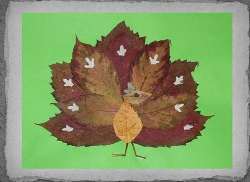 аппликация из листьев и бумаги на тему осень в школу для детей 9