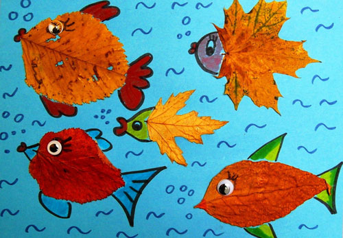 аппликация из листьев и бумаги на тему осень в школу для детей 8