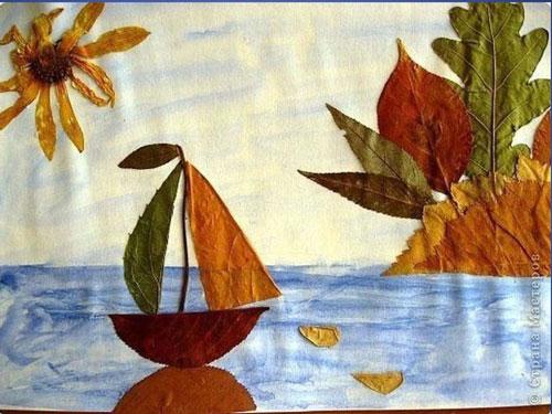 аппликация из листьев и бумаги на тему осень в школу для детей 7