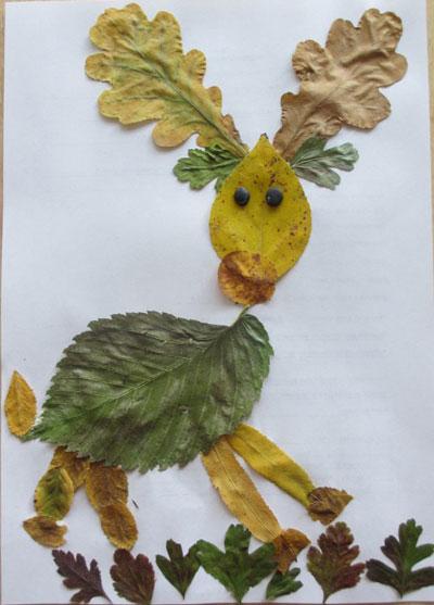 аппликация из листьев и бумаги на тему осень в школу для детей 6