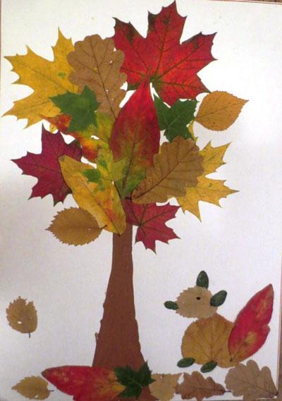 аппликация из листьев и бумаги на тему осень в школу для детей 4