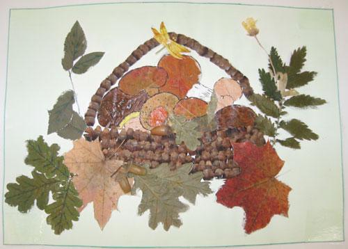 осенняя аппликация из листьев и бумаги для детей 10
