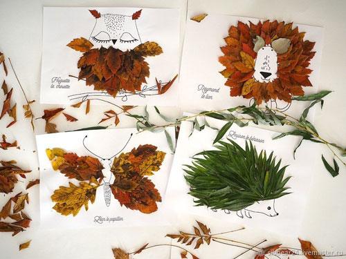 аппликация из листьев и бумаги на тему осень в школу для детей 3