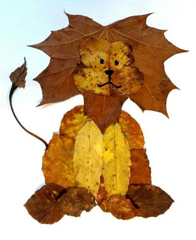 аппликация из листьев и бумаги на тему осень в школу для детей 2