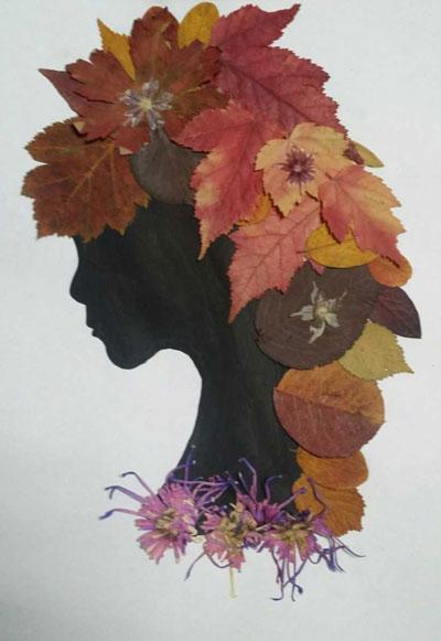 аппликация из листьев и бумаги на тему осень в школу для детей