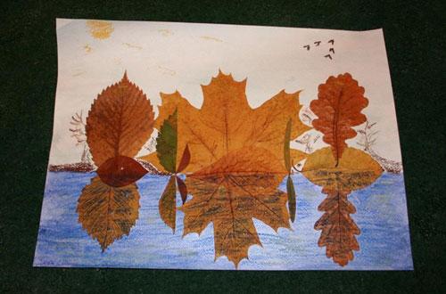 аппликация из листьев и бумаги на тему осень в школу 10