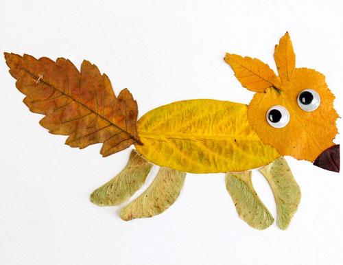 аппликация из листьев и бумаги на тему осень в школу 9