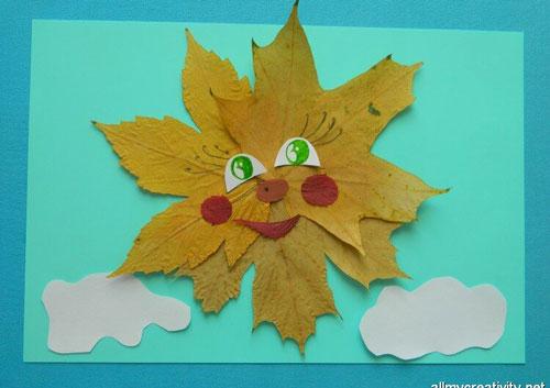 аппликация из листьев и бумаги на тему осень в школу 7