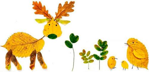 аппликация из листьев и бумаги на тему осень в школу 5