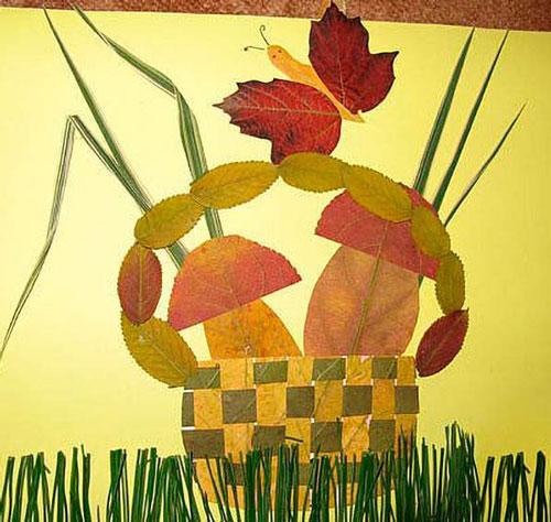 аппликация из листьев и бумаги на тему осень в школу 4