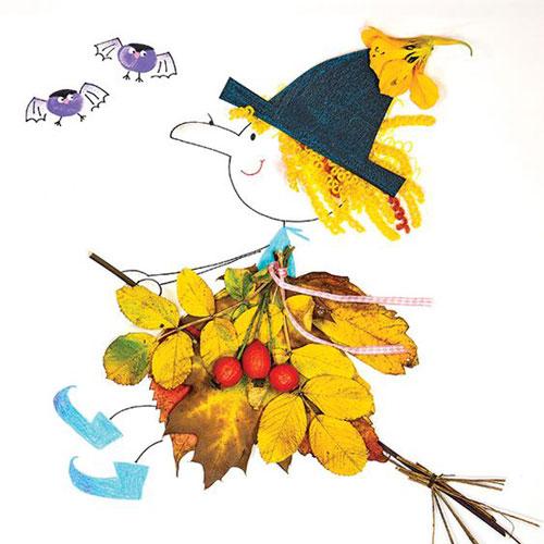 аппликация из листьев и бумаги на тему осень в школу 3