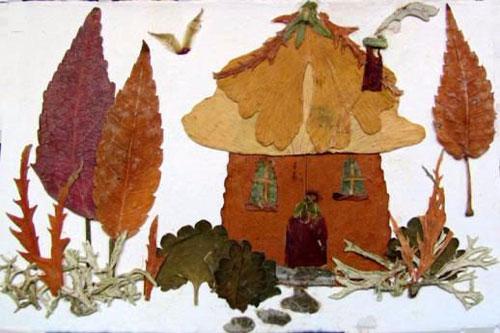 аппликация из листьев и бумаги на тему осень в старшей группе 9