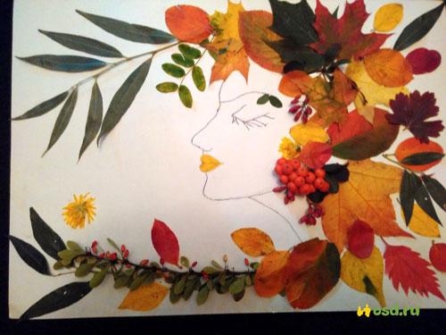 осенняя аппликация из листьев и бумаги для детей 8