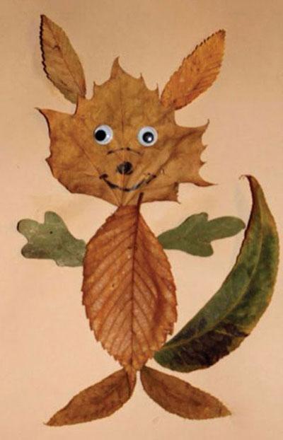 аппликация из листьев и бумаги на тему осень в старшей группе