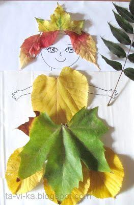 аппликация из листьев и бумаги на тему осень в средней группе 9