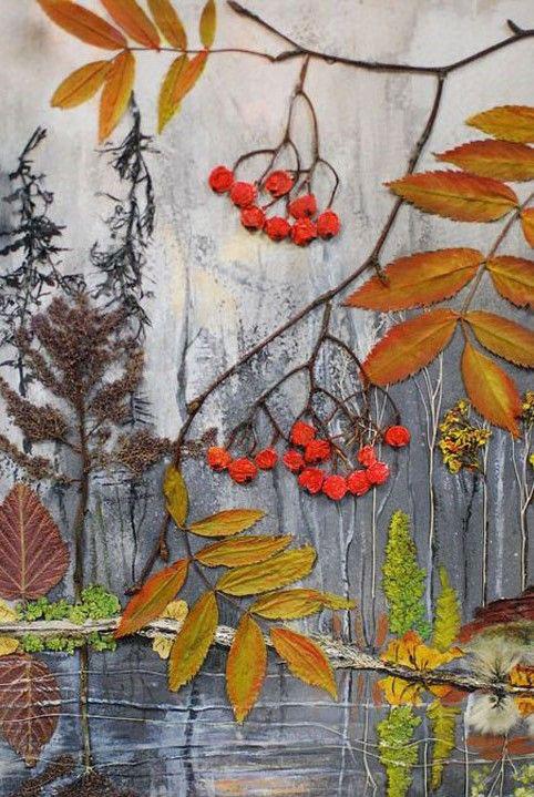аппликация из листьев и бумаги на тему осень в средней группе 8
