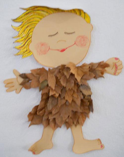 аппликация из листьев и бумаги на тему осень в средней группе 7