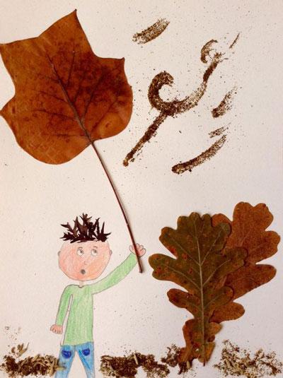 аппликация из листьев и бумаги на тему осень в средней группе 6