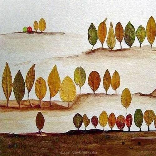 аппликация из листьев и бумаги на тему осень в средней группе 3