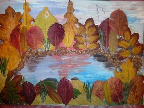 аппликация из листьев и бумаги на тему осень в средней группе 2