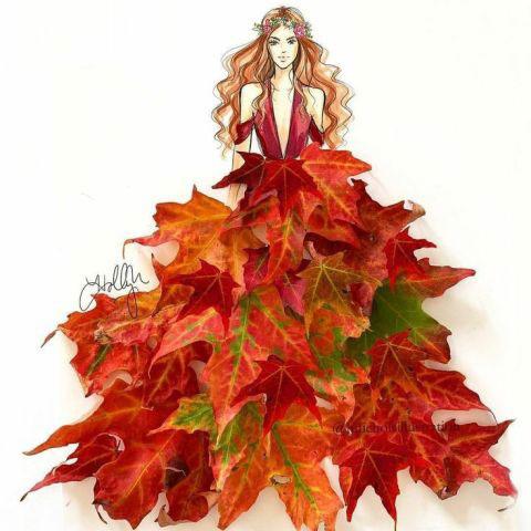 аппликация из листьев и бумаги на тему осень в средней группе