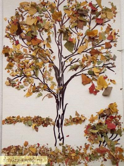 аппликация из листьев и бумаги на тему осень 9