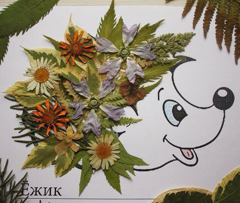 аппликация из листьев и бумаги на тему осень 5