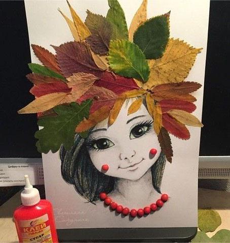 аппликация из листьев и бумаги на тему осень 3