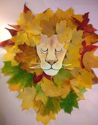 аппликация из листьев и бумаги на тему осень 2
