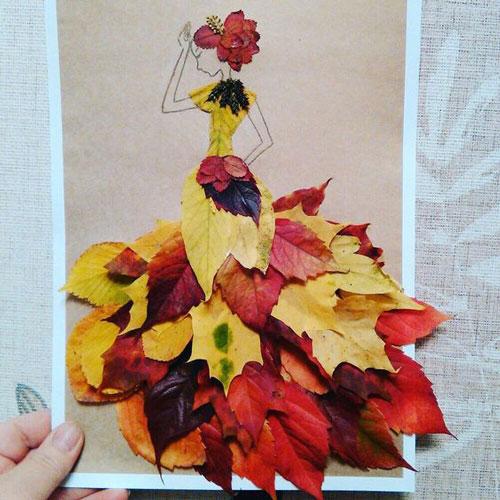 аппликация из листьев на листе бумаги 9